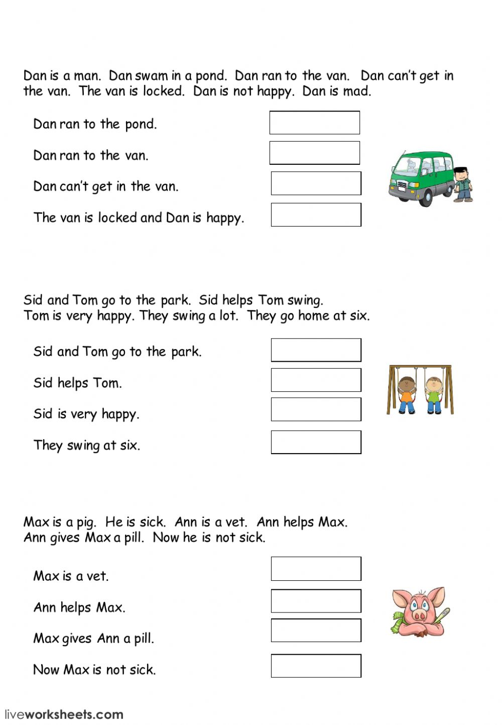 Easy Reading Comprehension - Interactive worksheet