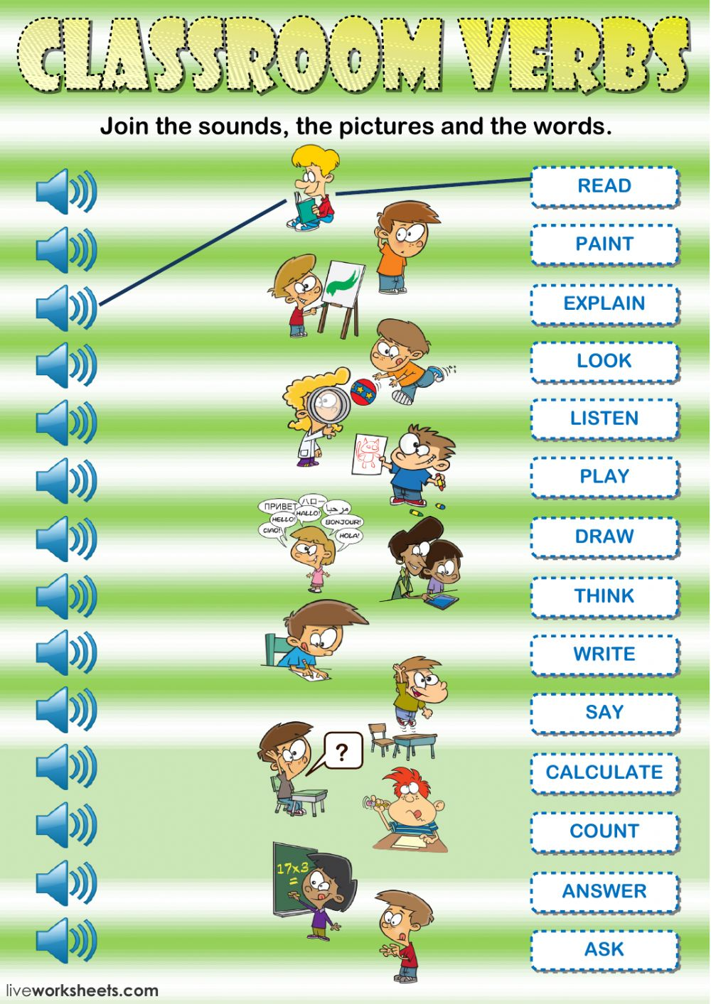 Classroom Verbs Listening And Reading Interactive