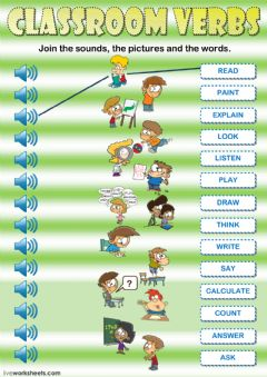 Interactive worksheet Classroom verbs - Listening and reading