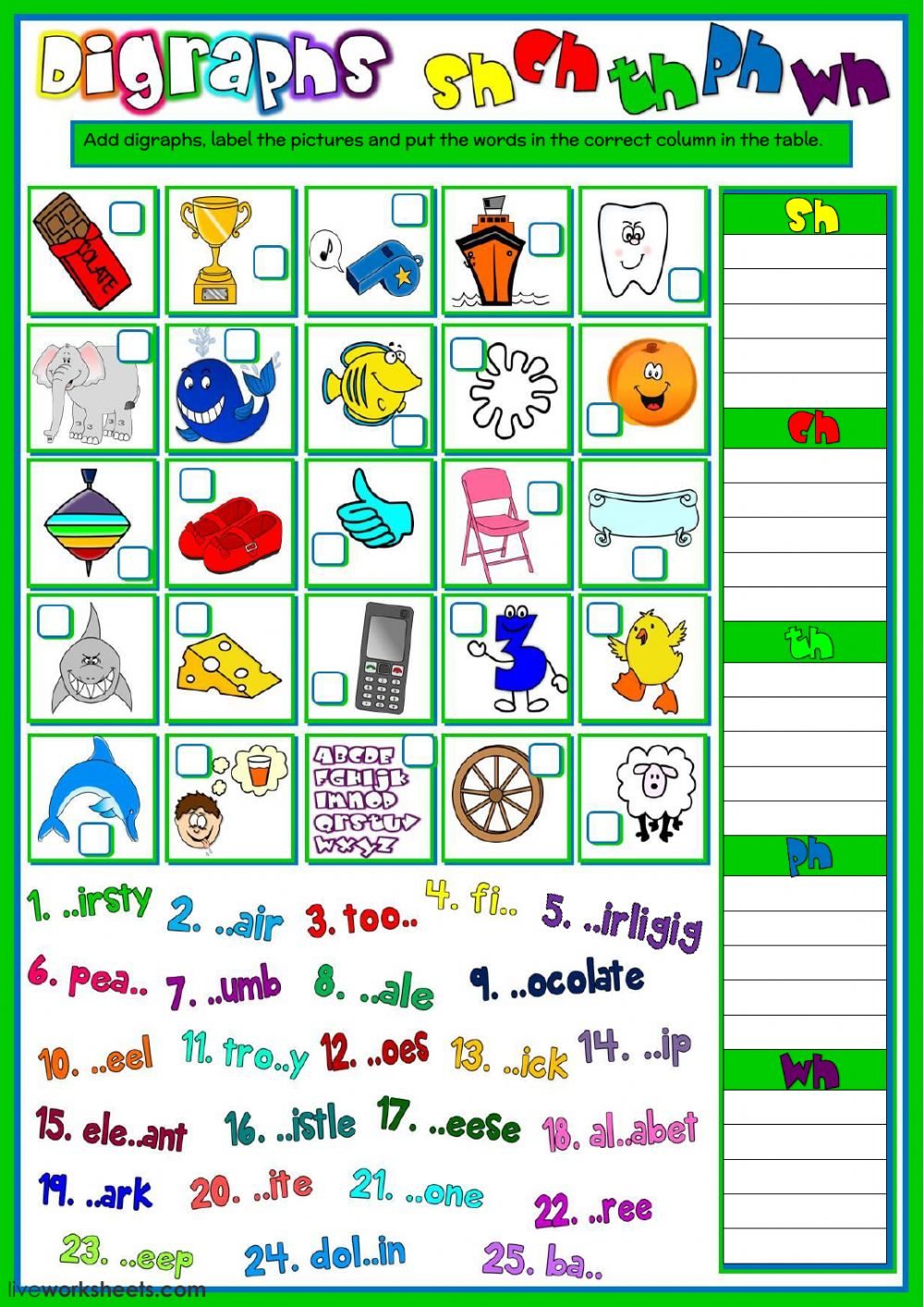Digraphs Sh Ch Th Ph And Wh Interactive Worksheet