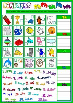 Interactive worksheet Digraphs - sh, ch, th, ph and wh