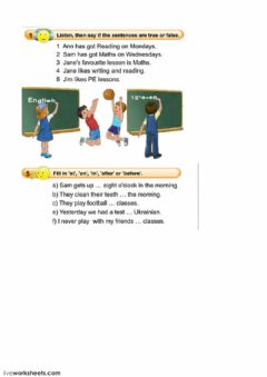 Ficha interactiva Lessons and prepositions of time