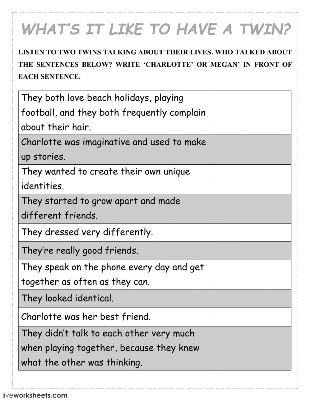 What's it like to have a twin? - Interactive worksheet