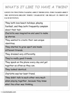 Interactive worksheet What's it like to have a twin?