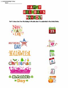 Interactive worksheet American Holidays