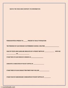 Interactive worksheet Gum disease