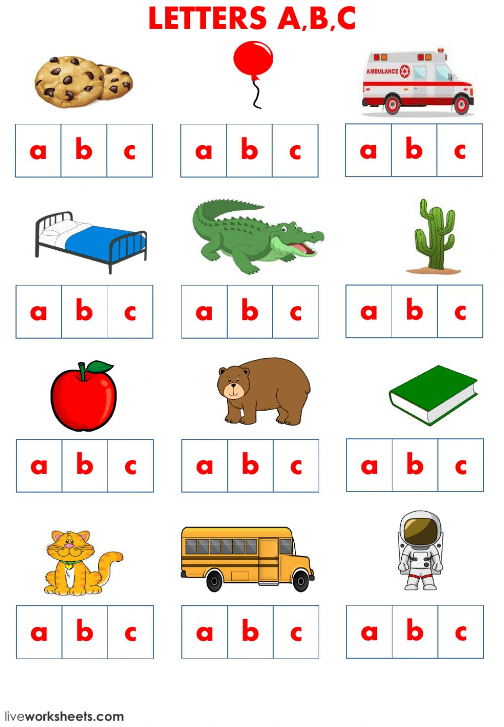 - Letters A B C School Supplies And Family - Interactive Worksheet