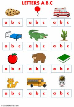 Interactive worksheet Letters a b c school supplies and family