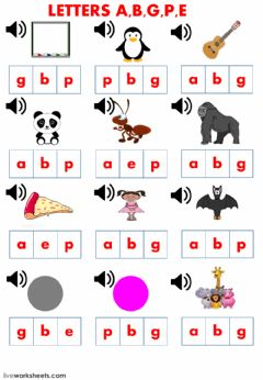 Interactive worksheet Letters a b e g p and school supplies