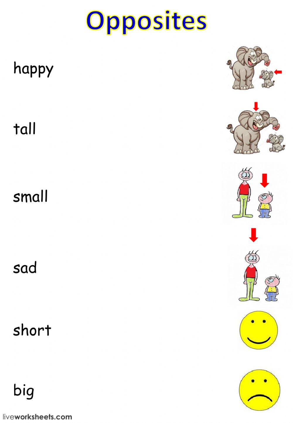 Opposites and -to be- - Interactive worksheet