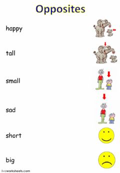 Interactive worksheet Opposites and -to be-