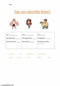 Interactive worksheet Describe them