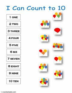 Interactive worksheet I Can Count to 10