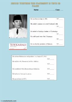 Interactive worksheet True or False President Soekarno