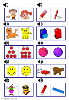 Interactive worksheet Letters a b c colors family and school supplies