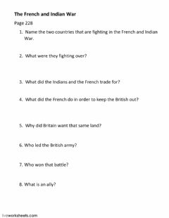 Interactive worksheet French and Indian War