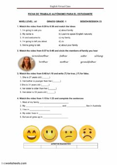 Interactive worksheet Listening: describing your family