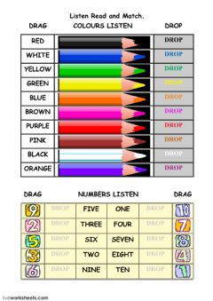 Ficha interactiva Colours and Numbers