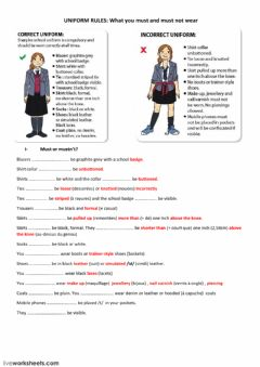 Interactive worksheet Uniform rules
