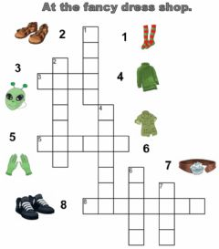 Clothes. Crossword. worksheet preview