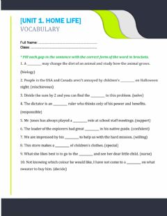 Interactive worksheet Unit 1. home life 3
