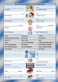 Interactive worksheet My afternoon-lilly's afternoon