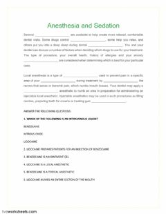 Interactive worksheet Anesthesia