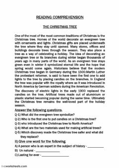Interactive worksheet Reading Comprehension-christmas tree