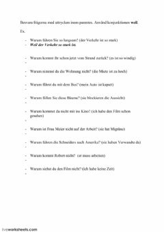 Interactive worksheet Konjunktion -weil- 1