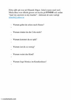 Interactive worksheet Konjunktion weil 02