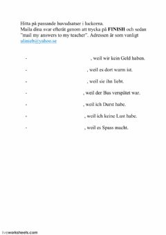 Interactive worksheet Konjunktion weil 03