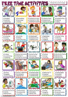Ficha interactiva Free time activities - multiple choice