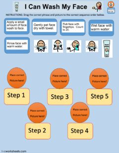 Interactive worksheet Face Washing Sequence