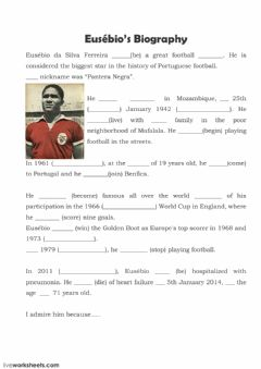 Interactive worksheet Eusébio's biography