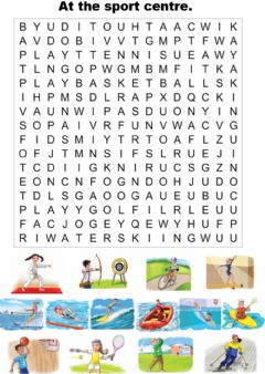 Interactive worksheet At the sport centre. Wordsearch.