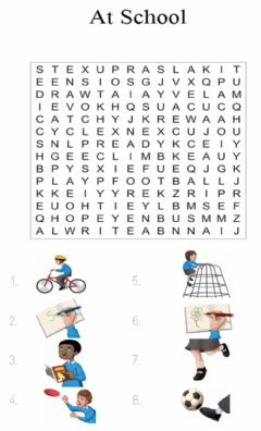 Interactive worksheet At school. wordsearch