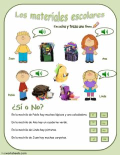 Interactive worksheet Los materiales escolares