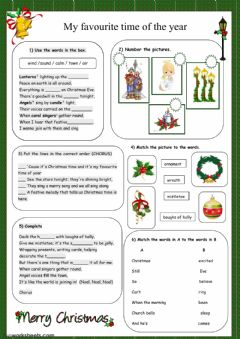 Interactive worksheet My favourite time of the year