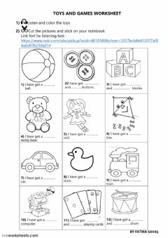 Interactive worksheet 3rd grade unit 5 toys and games online worksheet