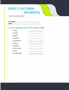 Interactive worksheet Unit 2. antonym prefix