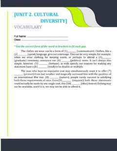 Interactive worksheet UNIT 2. WORD FORMS (MCQs)