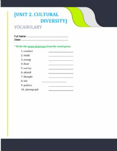 Interactive worksheet Unit 2. noun of person