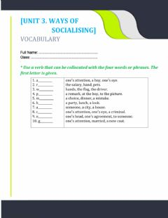 Interactive worksheet Unit 3. collocations