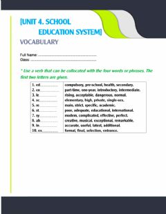 Interactive worksheet Unit 4. collocations