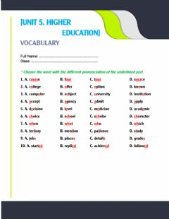 Interactive worksheet Unit 5. pronunciation