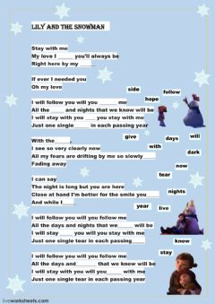 Lily and the Snowman worksheet preview
