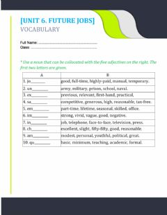Interactive worksheet Unit 6. word collocations