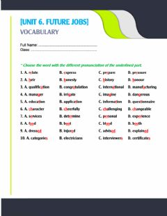 Interactive worksheet Unit 6. Pronunciation