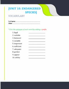 Interactive worksheet Unit 10. Antonym Prefix