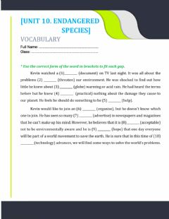Interactive worksheet Unit 10. word forms 3